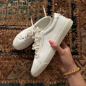 """Saint Laurent White """"Andy"""" Smooth Leather Sneakers"""
